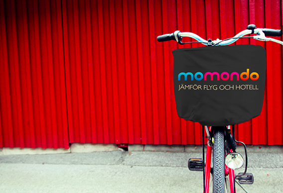 Outdoor marketing campaign for Momondo using bicycle basket covers (cykelkorgsskydd)
